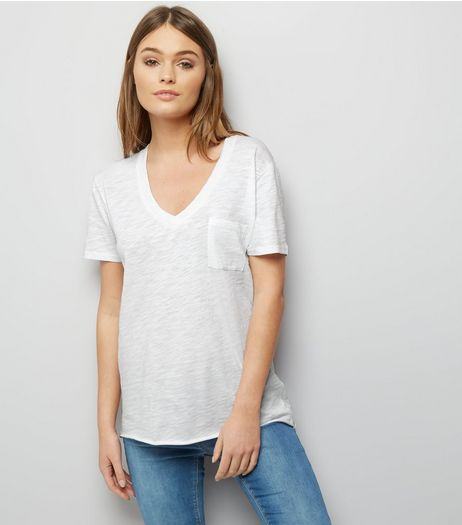 White Organic Cotton V Neck T-Shirt  | New Look