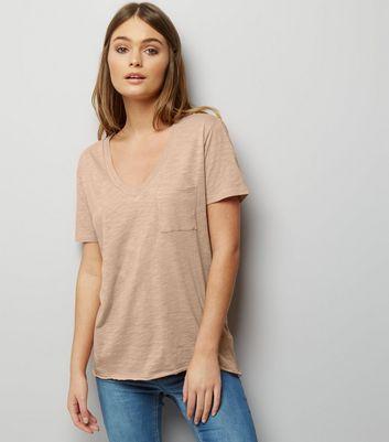 Light Brown Organic Cotton V Neck T-Shirt