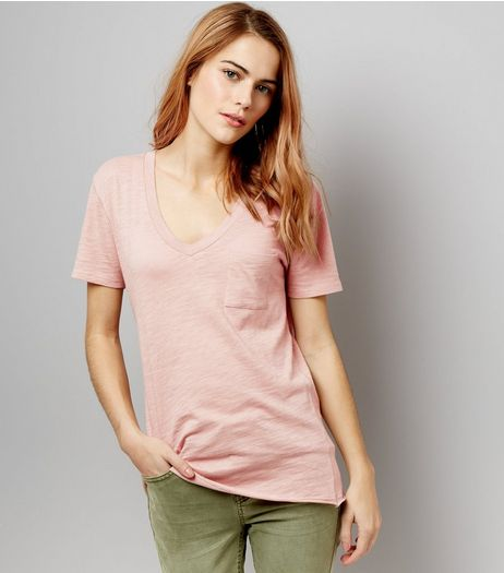 Pink Organic Cotton V Neck T-Shirt  | New Look