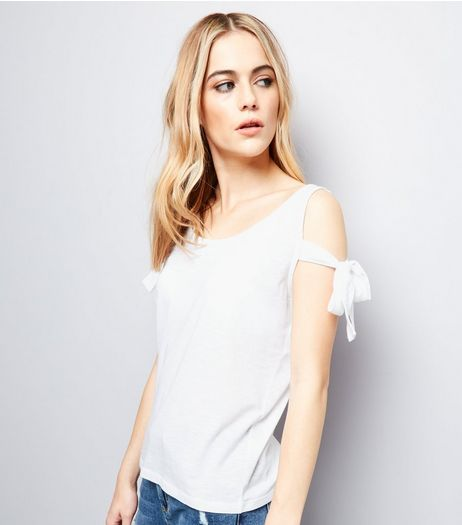 White Cold Shoulder Tie Sleeve Top | New Look