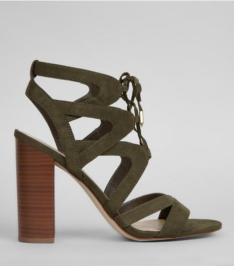 Khaki Suedette Ghillie Block Heels | New Look