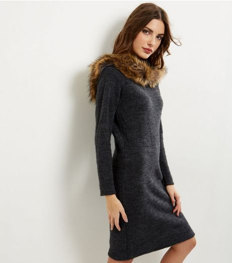 Cameo Rose Grey Faux Fur Trim Bardot Neck Dress | New Look