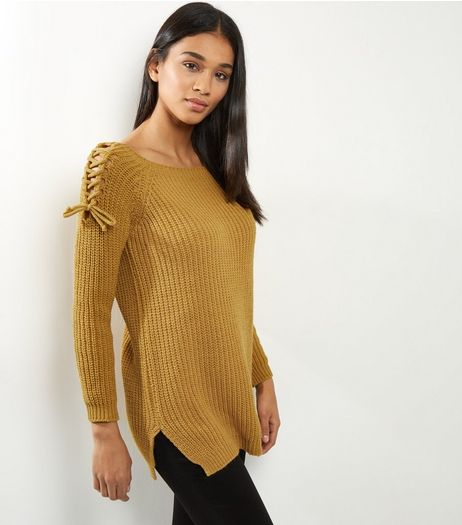 Cameo Rose Yellow Lace Up Shoulder Jumper | New Look