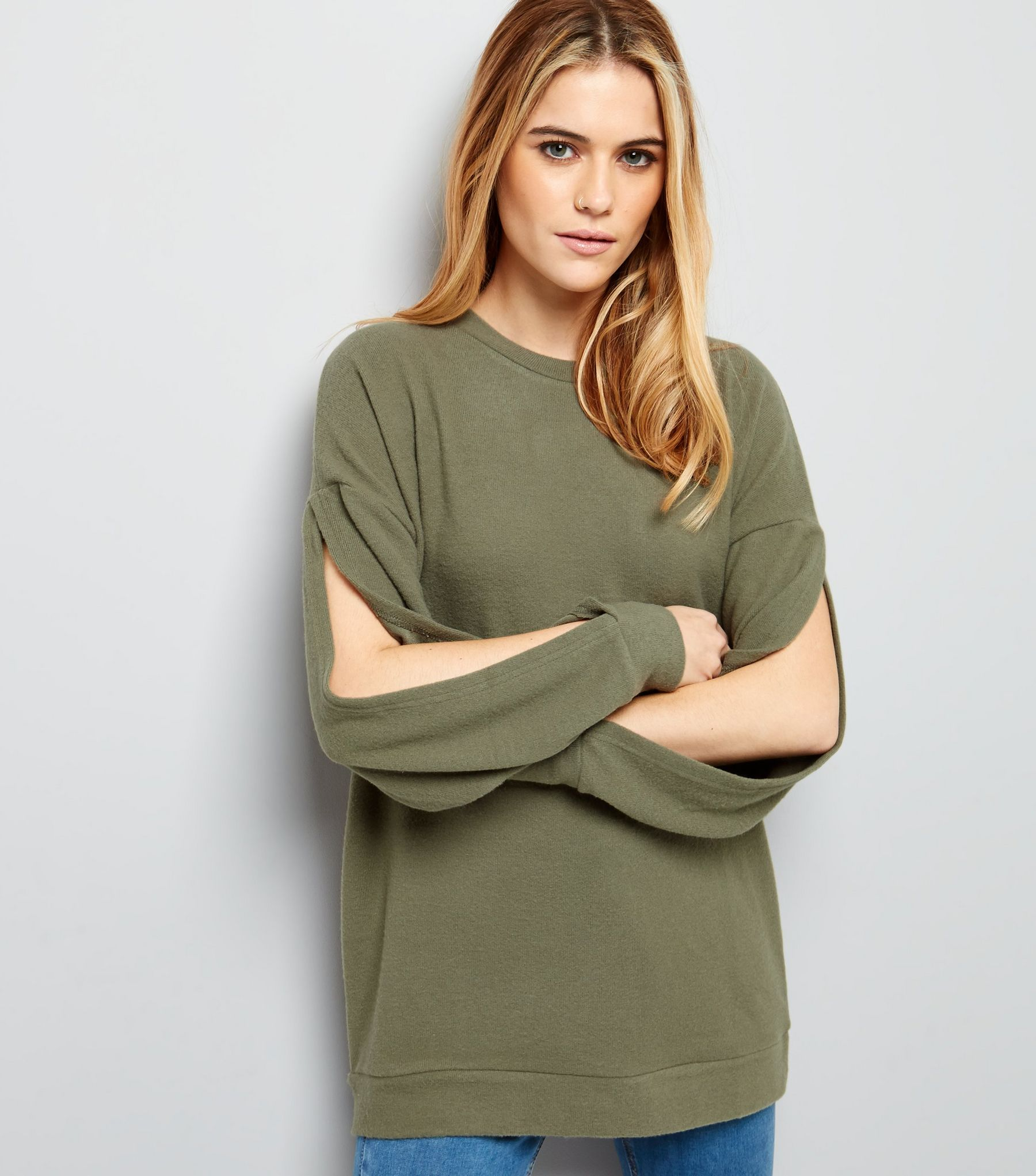 Olive Green Brushed Split Sleeve Top  | New Look