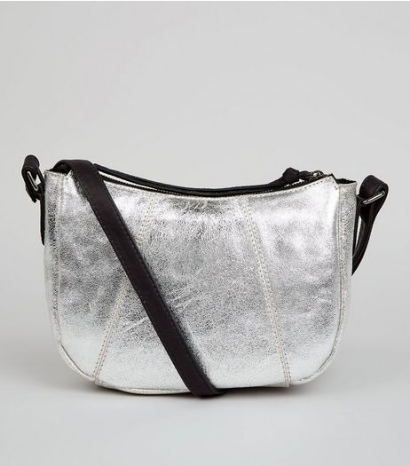 Silver Leather Cross Body Bag | New Look