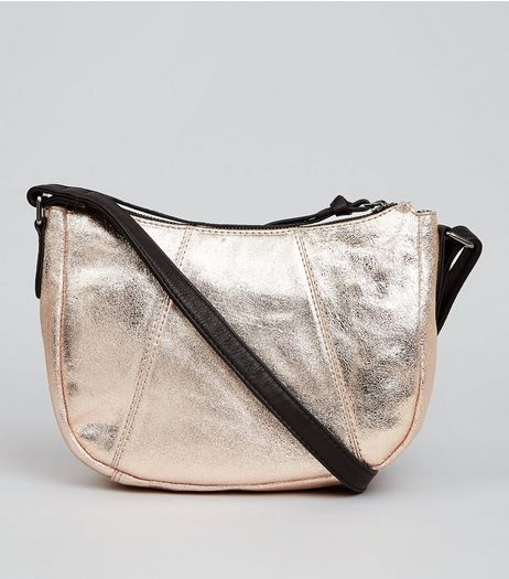 Rose Gold Metallic Leather Cross Body Bag | New Look