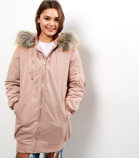 Cameo Rose Shell Pink Faux Fur Hooded Longline Parka  | New Look