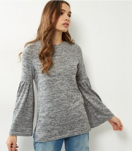Grey Flared Sleeve Brushed Jumper | New Look