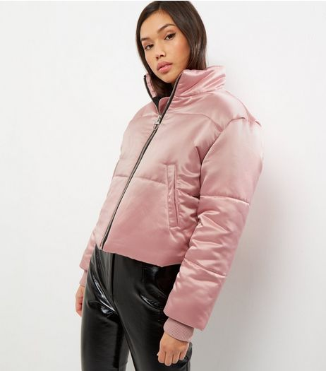 Cameo Rose Pink Sateen Cropped Puffer Jacket | New Look