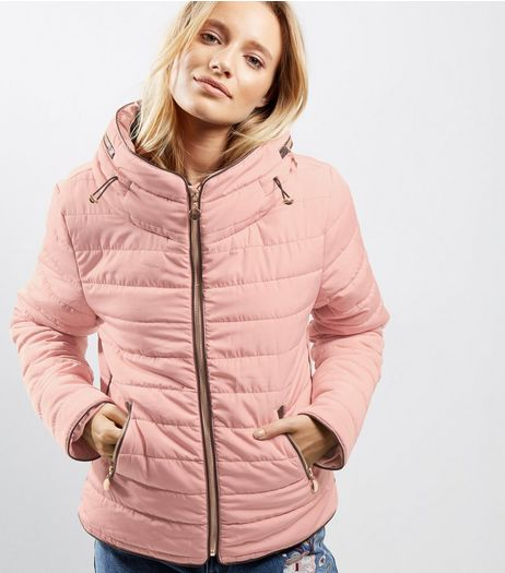Cameo Rose Pink Puffer Jacket  | New Look