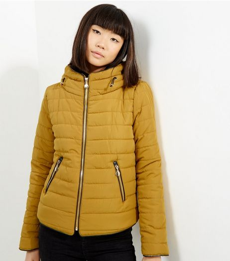 Cameo Rose Yellow Hidden Hood Puffer Jacket | New Look