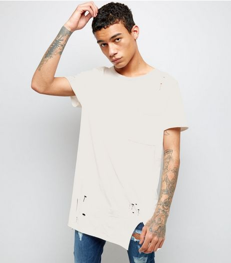 White Distressed Pocket Front Longline T-Shirt | New Look