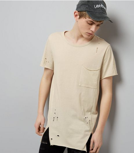 Stone Distressed Pocket Front Longline T-Shirt | New Look
