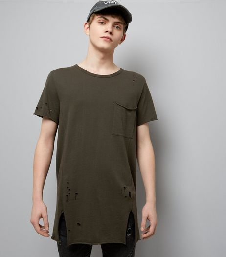 Dark Green Distressed Pocket Front Longline T-Shirt | New Look