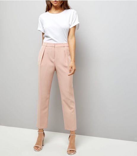 Shell Pink Pleated Front Trousers  | New Look