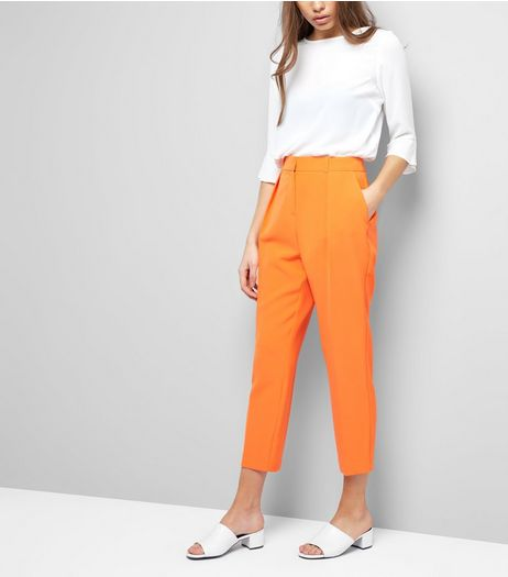 Orange Pleat Front Trousers | New Look