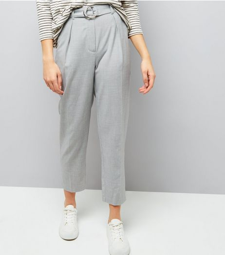 Grey Hoop Ring Belted Trousers  | New Look