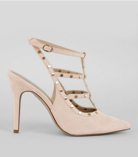 Nude Pink Suedette Strappy Stud Pointed Heels | New Look