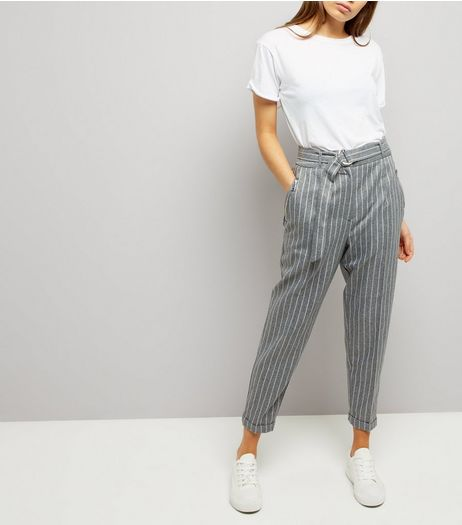Grey Pinstripe Belted Tapered Trousers | New Look