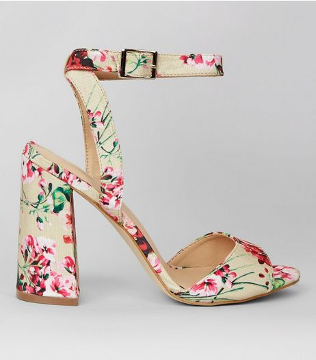 White Floral Print Flared Block Heels | New Look