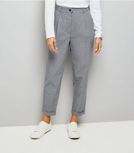 Grey Herringbone High Waist Tapered Trousers | New Look