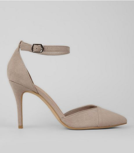 Grey Suedette Ankle Strap Pointed Heels  | New Look