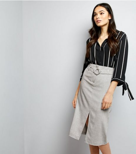 Grey Belted Split Front Midi Skirt  | New Look