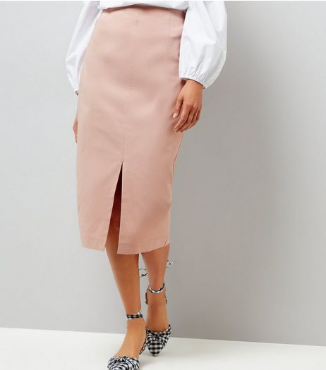 Shell Pink Split Side Midi Pencil Skirt  | New Look