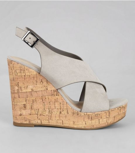Grey Suedette Cork Wedge Heels | New Look