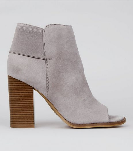Grey Suedette Peep Toe Boots | New Look