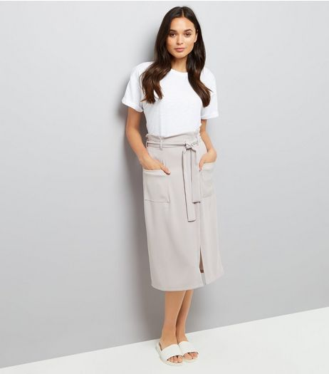 Grey Wrap Front Crepe Midi Skirt  | New Look