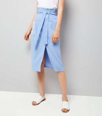 Blue Wrap Front Crepe Midi Skirt