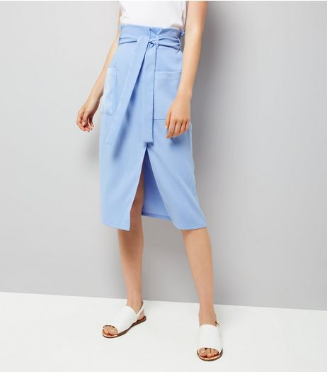 Blue Wrap Front Crepe Midi Skirt  | New Look