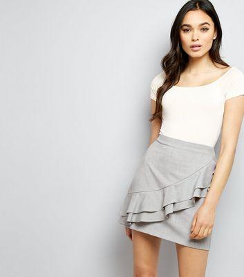 Grey Frill Trim Mini Skirt