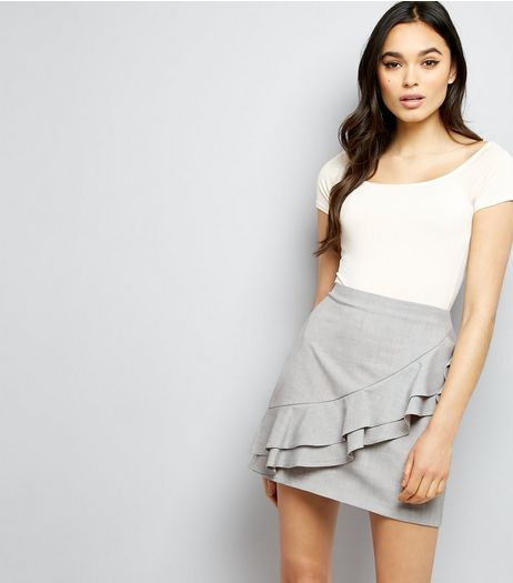 Grey Frill Trim Mini Skirt  | New Look