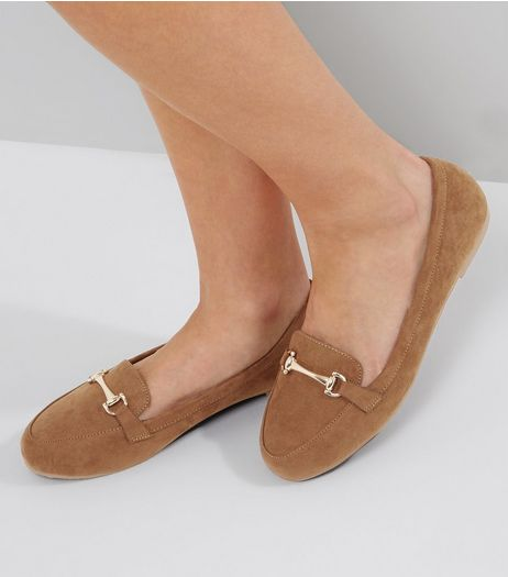 Wide Fit Tan Suedette Snaffle Loafers | New Look
