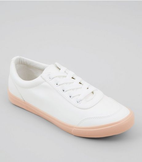 Wide Fit White Contrast Sole Trainers | New Look