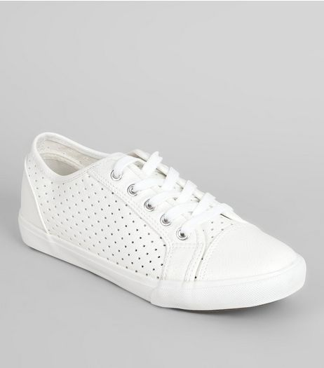 Wide Fit Perforated Lace Up Trainers | New Look