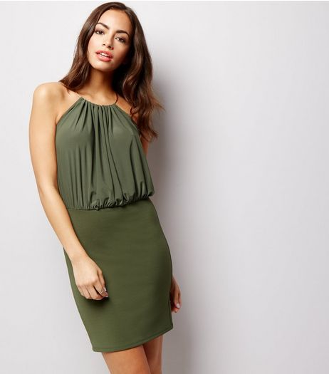 Khaki Metal Trim Halter Neck Mini Dress | New Look