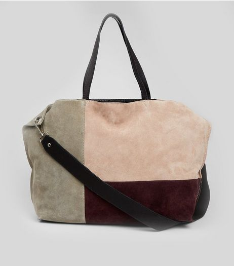 Nude Pink Suede Colour Block Tote Bag | New Look
