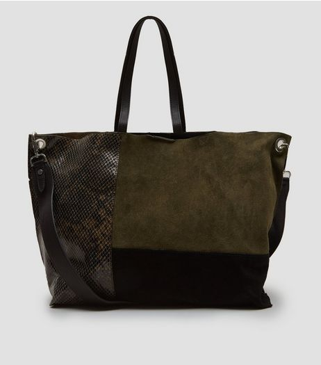 Khaki Suede Colour Block Tote Bag | New Look