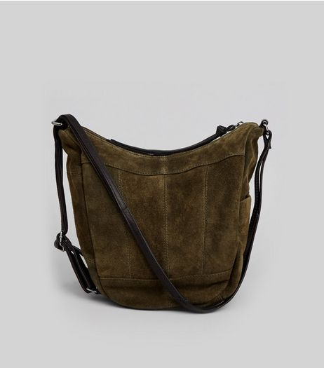 Khaki Suede Hobo Backpack | New Look
