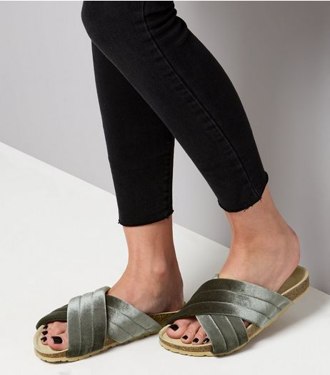 Wide Fit Khaki Velvet Chunky Sliders | New Look