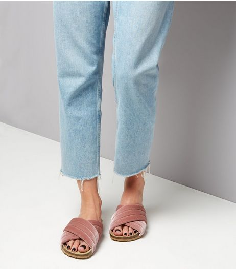 Wide Fit Pink Velvet Chunky Sliders  | New Look