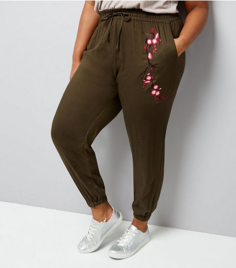 Curves Khaki Embroidered Trousers | New Look