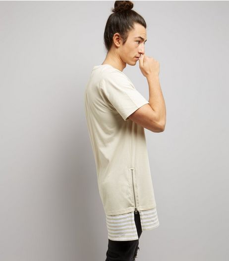 Stone Stripe Hem Layered Longline T-Shirt | New Look