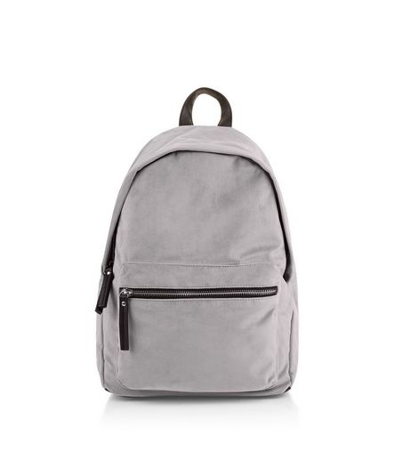 Grey Velvet Backpack | New Look