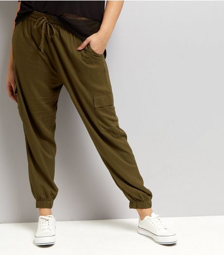 Curves Khaki Utility Trousers | New Look
