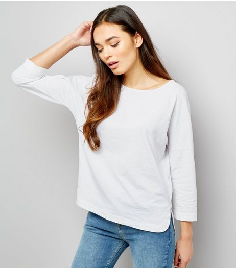 White 3/4 Sleeve Top  | New Look