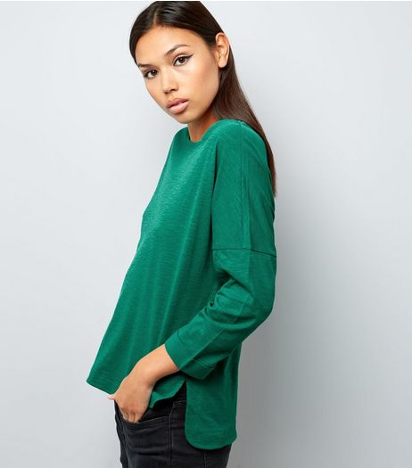 Green 3/4 Sleeve Top | New Look